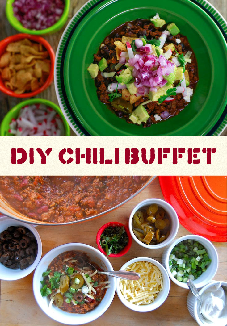 Chili buffet for a crowd dinner party
